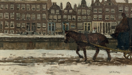 A horse-drawn cart in winter o