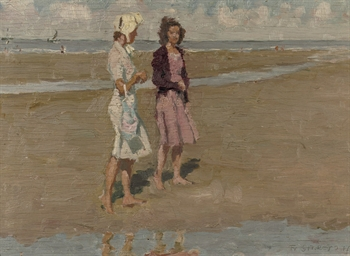 Two girls on the beach (recto)