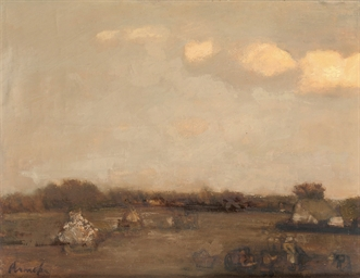 Landscape with farmers at work
