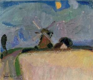 A windmill in a landscape, Het