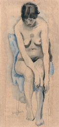 A nude seated on a draped chai
