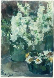 A still life with white flower