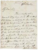 NELSON, Horatio, Viscount Nelson (1758-1805). Autograph letter signed (with the right hand, 'Horatio Nelson') to [his uncle] William Suckling, off Port Mahon, 7 June [1795], referring to an enclosure for his mother, and giving strategic news, 'No reinforcements ... the French are not yet saild from Toulon but all ready 21 Sail of the Line 13 frigates, truly sorry am I that Lord Hood does not command us he is a great Officer & Was he here we should not now be skulking', one page, 4to, integral address leaf.