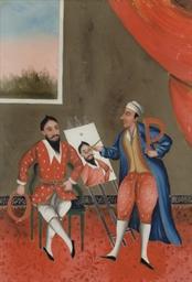 Peintre oriental à son chevale