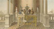 Vases posés sur une console de style Louis XIV dans un intérieur