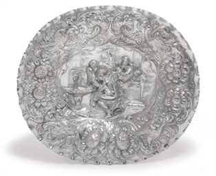 A GERMAN SILVER SIDEBOARD-DISH