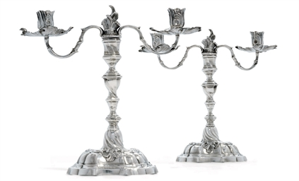 A PAIR OF GERMAN SILVER TWO-LI