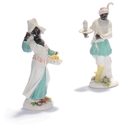 TWO MEISSEN BLACKAMOOR FIGURES