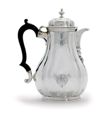 A GEORGE II SILVER COFFEE-JUG