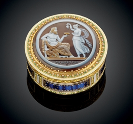 A LOUIS XVI ENAMELLED GOLD BON
