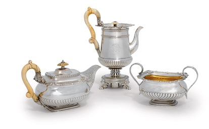 A GEORGE III THREE-PIECE SILVE