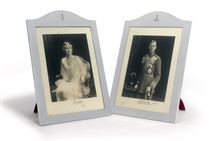 A PAIR OF GEORGE V SILVER PHOTOGRAPH-FRAME WITH SIGNED ROYAL PHOTOGRAPHS