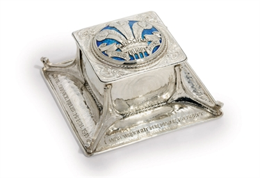 A GEORGE V SILVER AND ENAMEL I