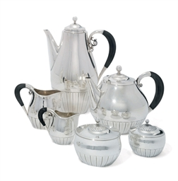 A DANISH SIX-PIECE TEA AND COF