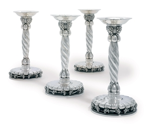 A SET OF FOUR DANISH CANDLESTI