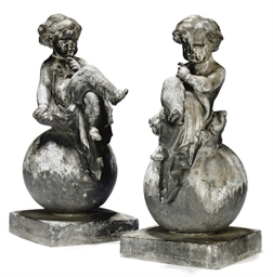A PAIR OF ENGLISH LEAD FIGURES