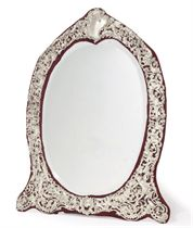 A VICTORIAN PIERCED SILVER DRESSING TABLE MIRROR