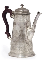 A GEORGE I SILVER COFFEE POT