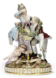 A MEISSEN FIGURE GROUP 'BROKEN