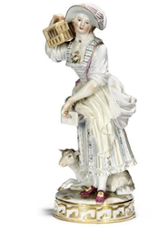 A MEISSEN FIGURE OF A HARLEQUI