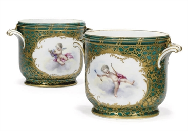 A PAIR OF SEVRES (LATER DECORA