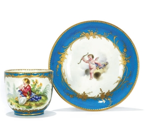 A MEISSEN CUP AND SAUCER, A SA