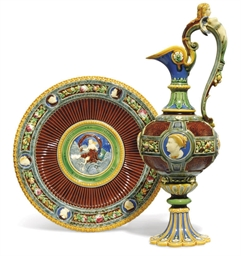 A MINTON MAJOLICA EWER AND STA
