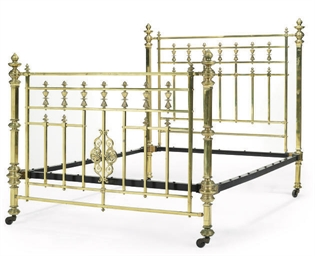 A LATE VICTORIAN BRASS BED