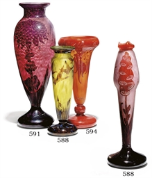 TWO CAMEO GLASS VASES BY LE VE