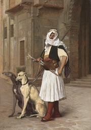 Arnaute avec deux chiens whipp
