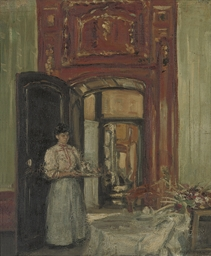 Interior with maid carrying a