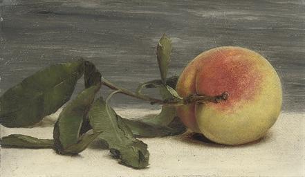 Still life of peach with twig