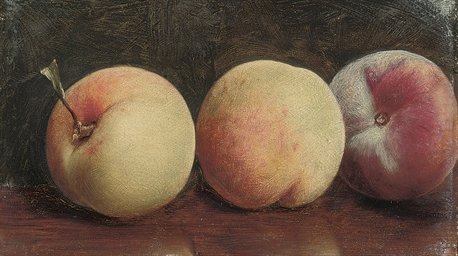 Three peaches on a brown table