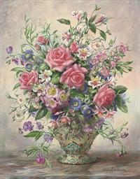 Roses, Oriental lilies, carnat