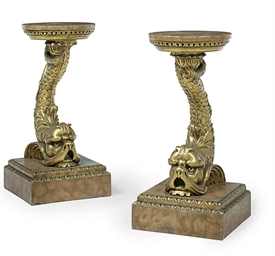 A PAIR OF CARVED GILTWOOD OCCA