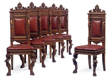 A SET OF SIX FRENCH WALNUT DIN