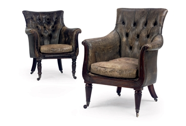 TWO REGENCY MAHOGANY BERGERES