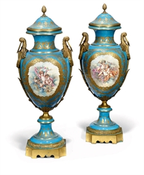 A PAIR OF LARGE SEVRES-STYLE V