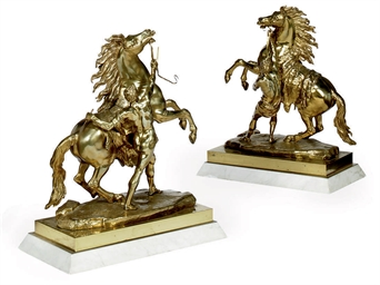 A PAIR OF POLISHED BRASS MODEL