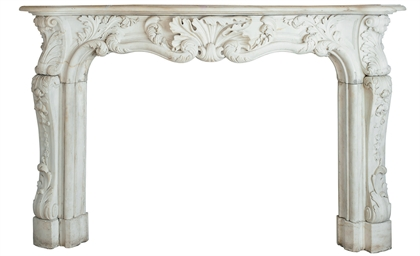 A FRENCH WHITE MARBLE CHIMNEYP