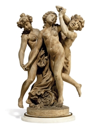 A FRENCH TERRACOTTA GROUP OF C