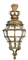 A GILT-BRONZE POLYGONAL HALL L