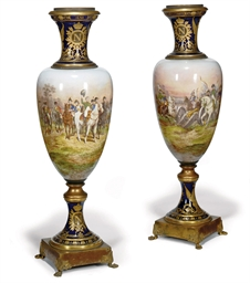 A LARGE PAIR OF SEVRES-STYLE V