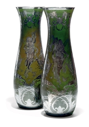 A PAIR OF SILVERED GREEN-GLASS