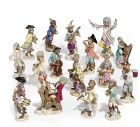 A MEISSEN SIXTEEN PIECE MONKEY
