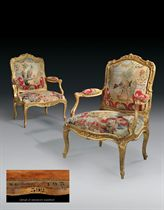 A PAIR OF FRENCH GILTWOOD FAUTEUILS