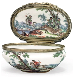 A SILVER-GILT MOUNTED MEISSEN