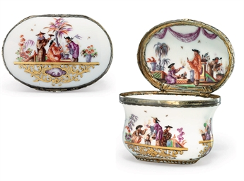A SILVER-MOUNTED MEISSEN PORCE