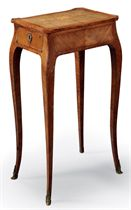 A LOUIS XV TULIPWOOD AND MARQUETRY OCCASIONAL TABLE