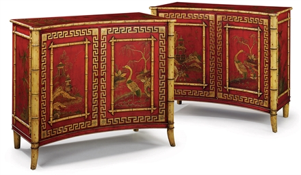 A PAIR OF ENGLISH RED-AND-GILT